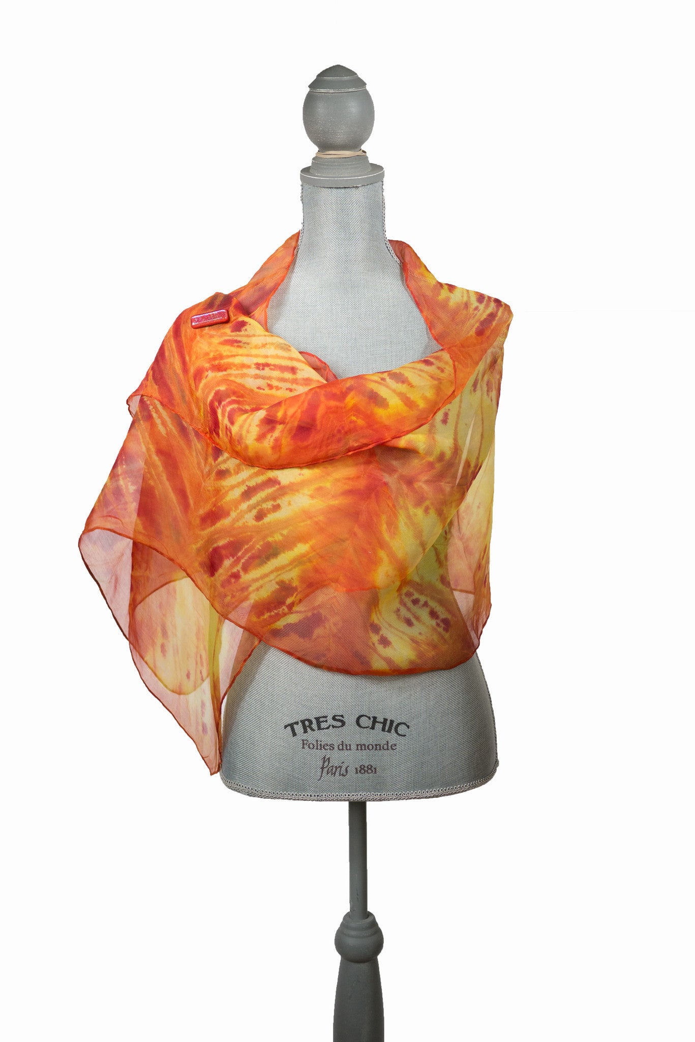 Eye-Catching Red and Yellow Silk Wrap