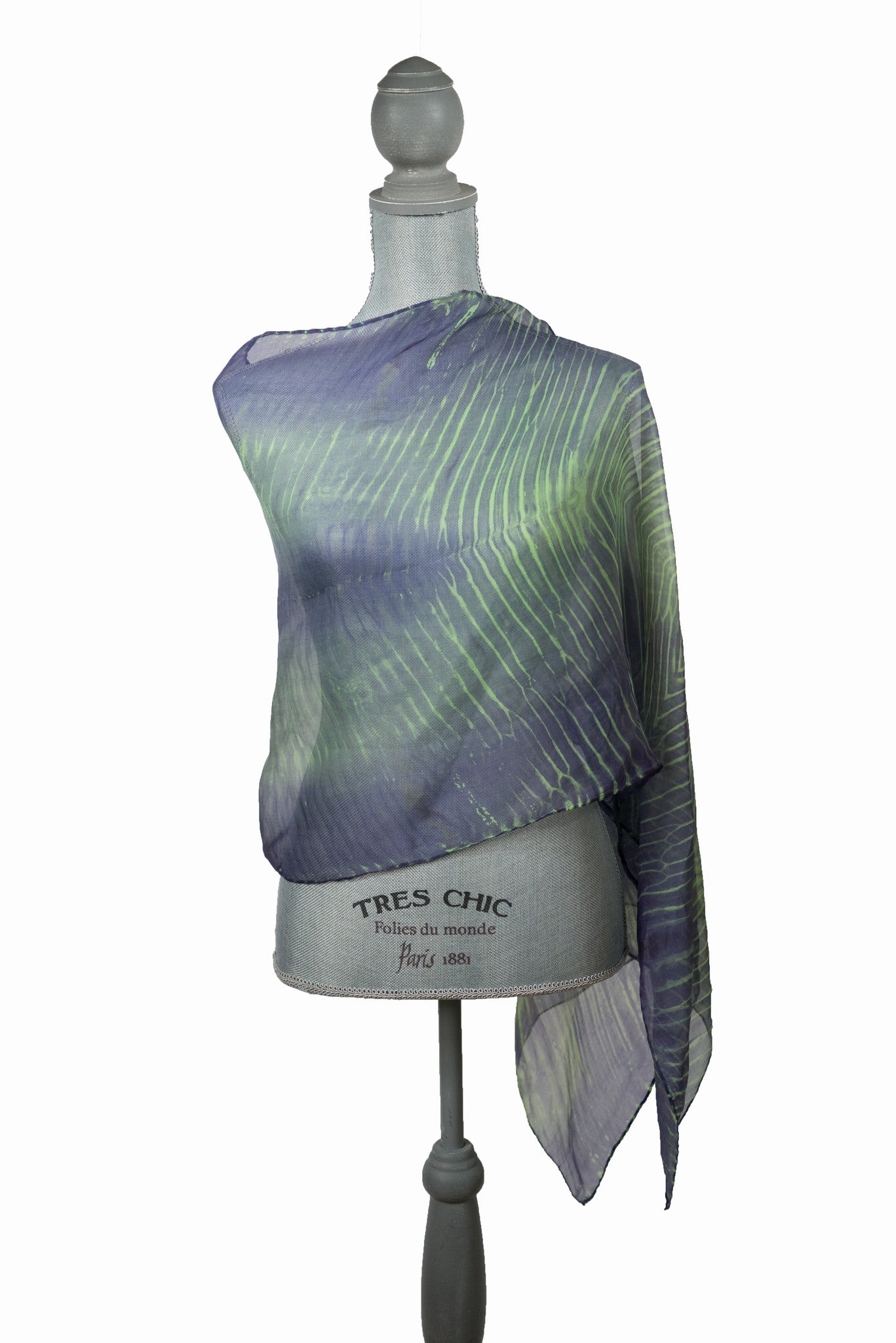 Exquisite Green and Purple Silk Wrap | Shawl