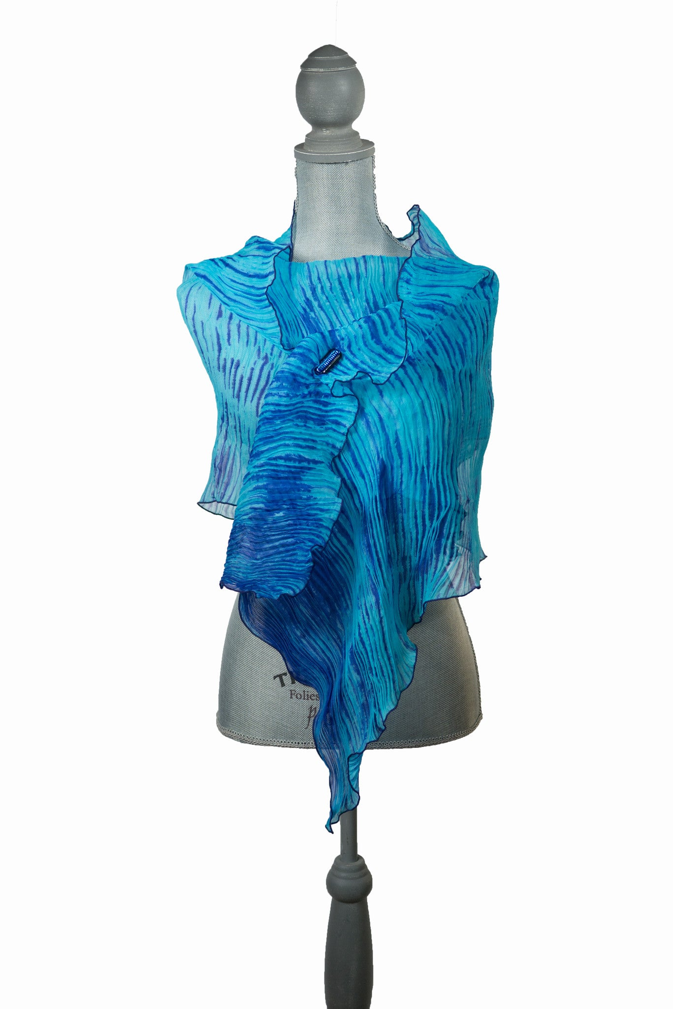 Graceful Blue Silk Wrap | Shawl