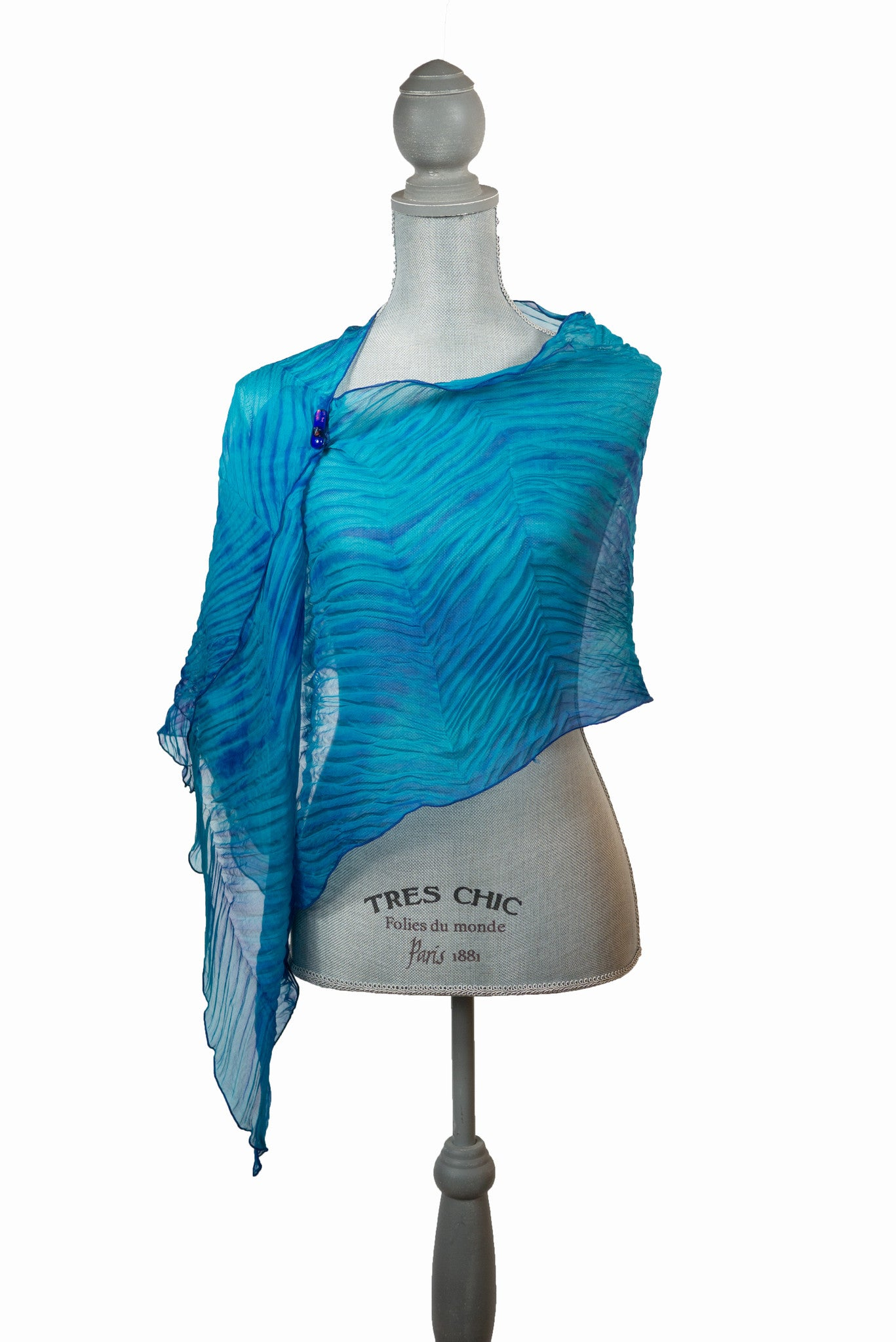 Flowing Turquoise And Purple Silk Wrap
