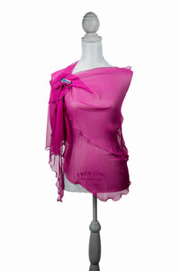 Elegant Fuchsia Ruffled Poly-Silk Wrap | Shawl