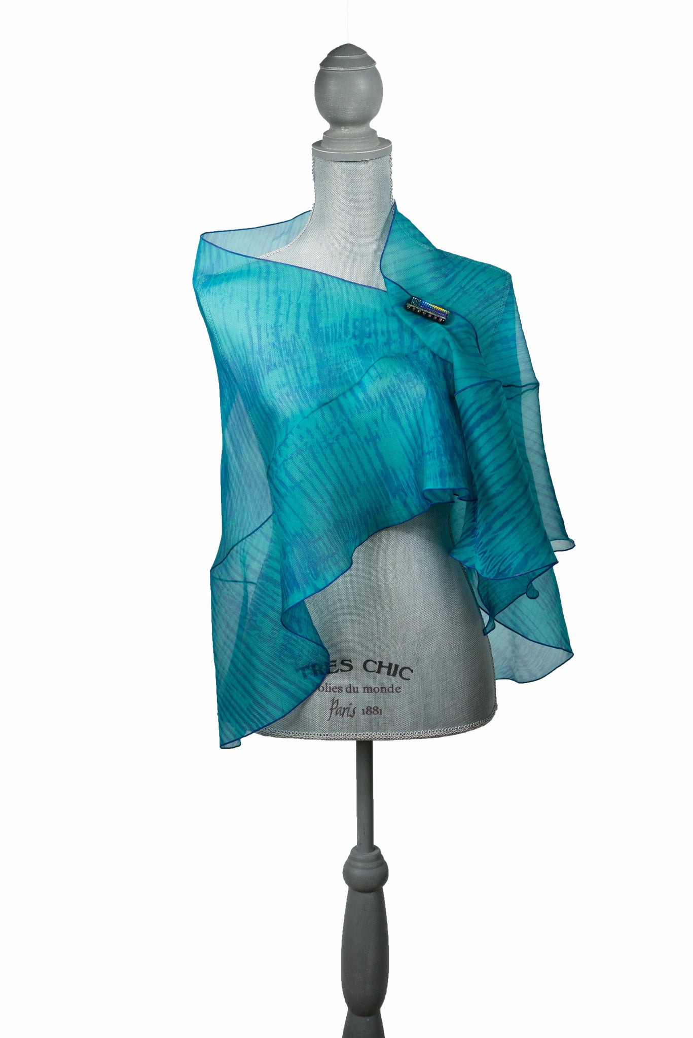 Captivating Blue/Green Ruffled Wrap-Poncho