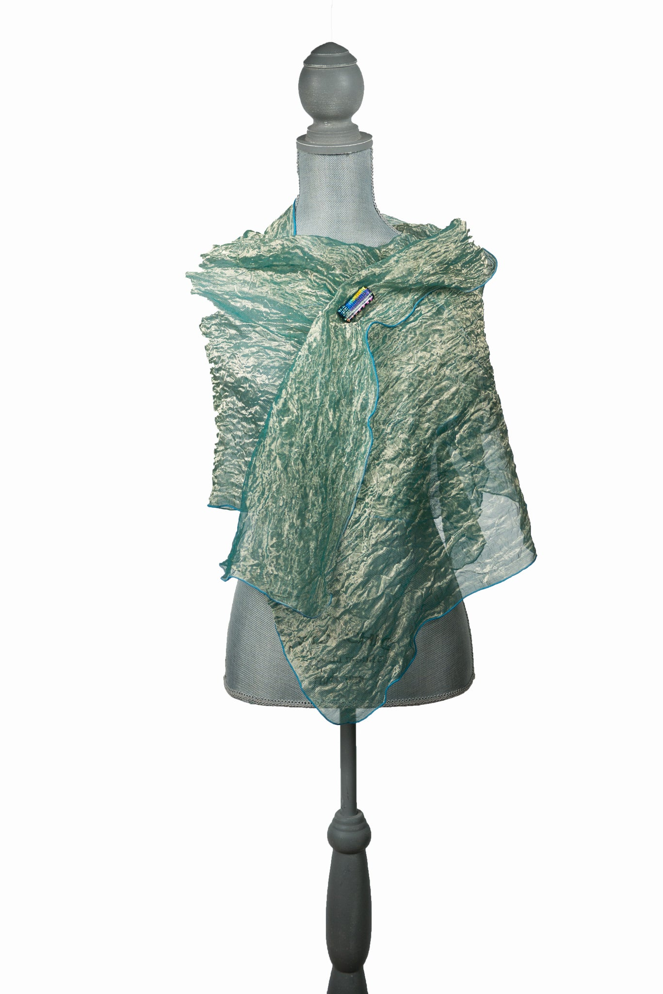 Dazzling Turquoise And Green Silk Wrap-Poncho