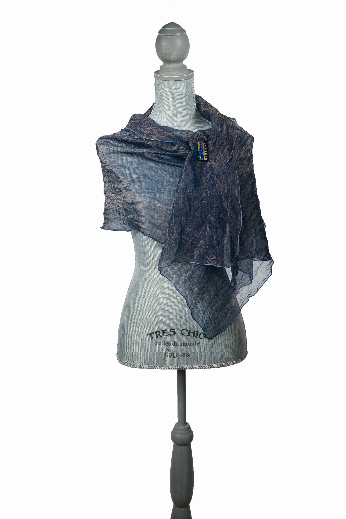 Elegant Blue And Gold Silk Wrap | Shawl