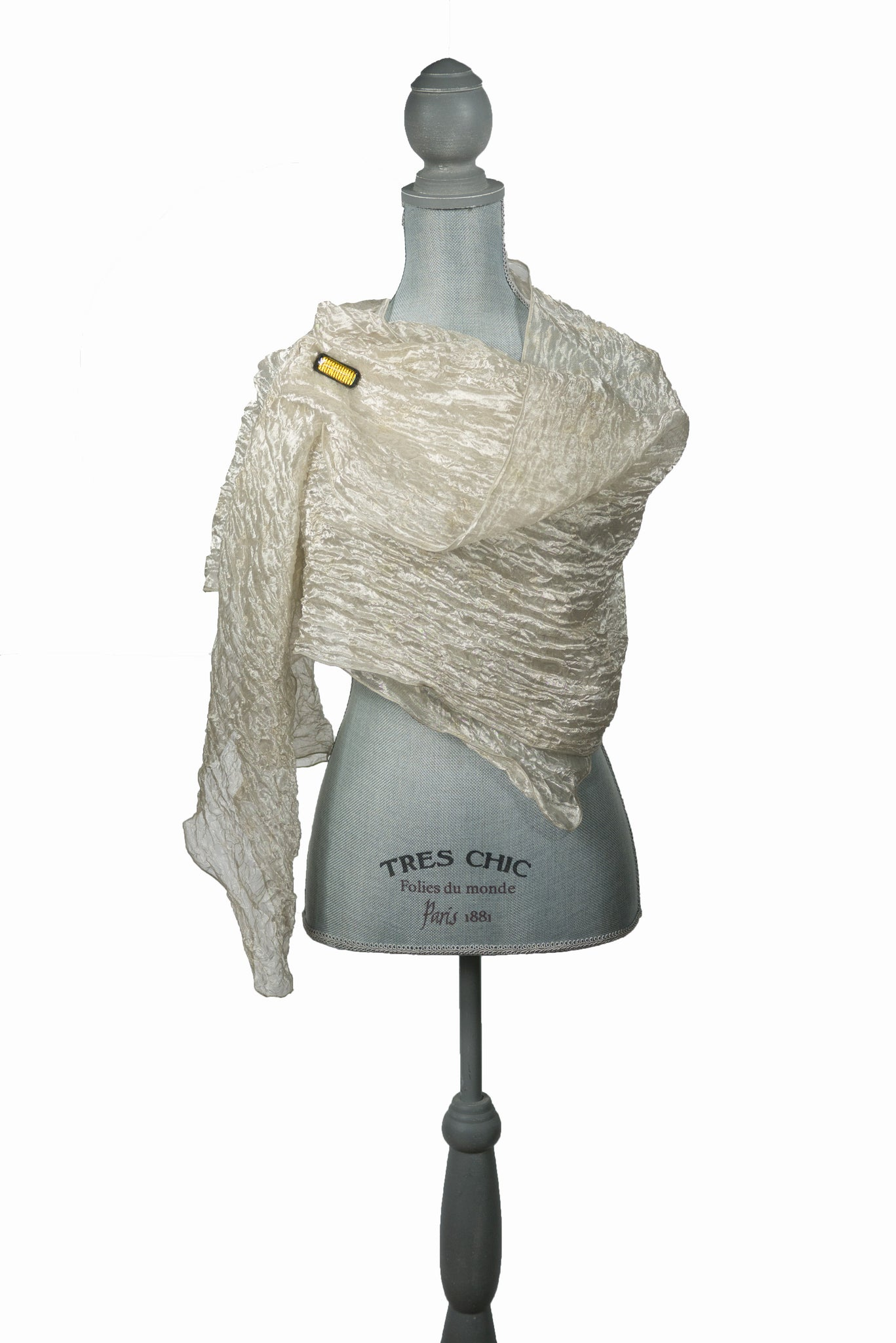 Opulent White Gold Silk Wrap-Poncho