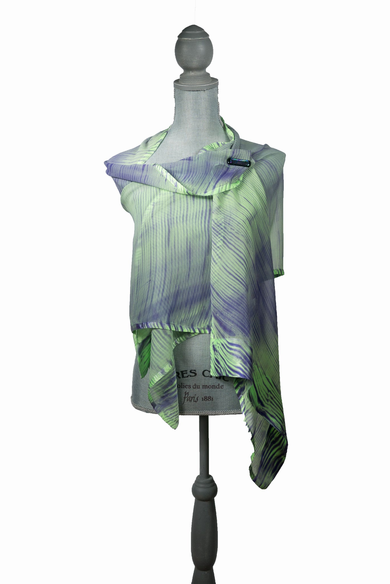 Enchanting Green/Purple Silk Wrap | Shawl