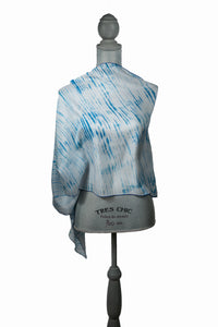 Fine Blue/White Silk Wrap | Shawl
