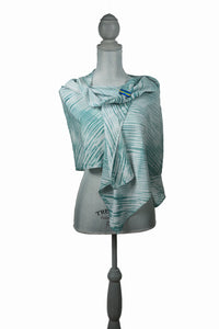 Mystical Green/White Silk Wrap | Shawl
