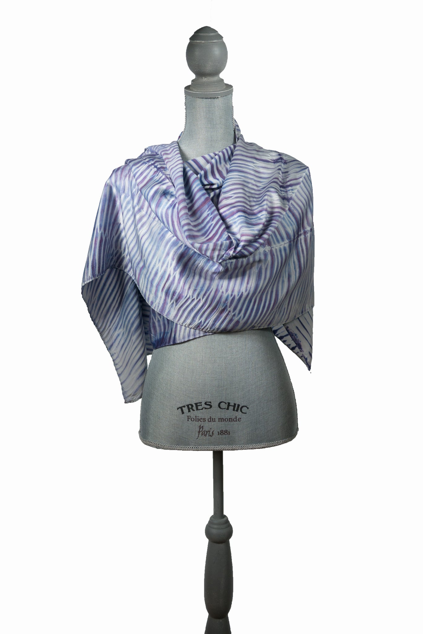 Scrumptious Purple and White Silk Wrap-Poncho