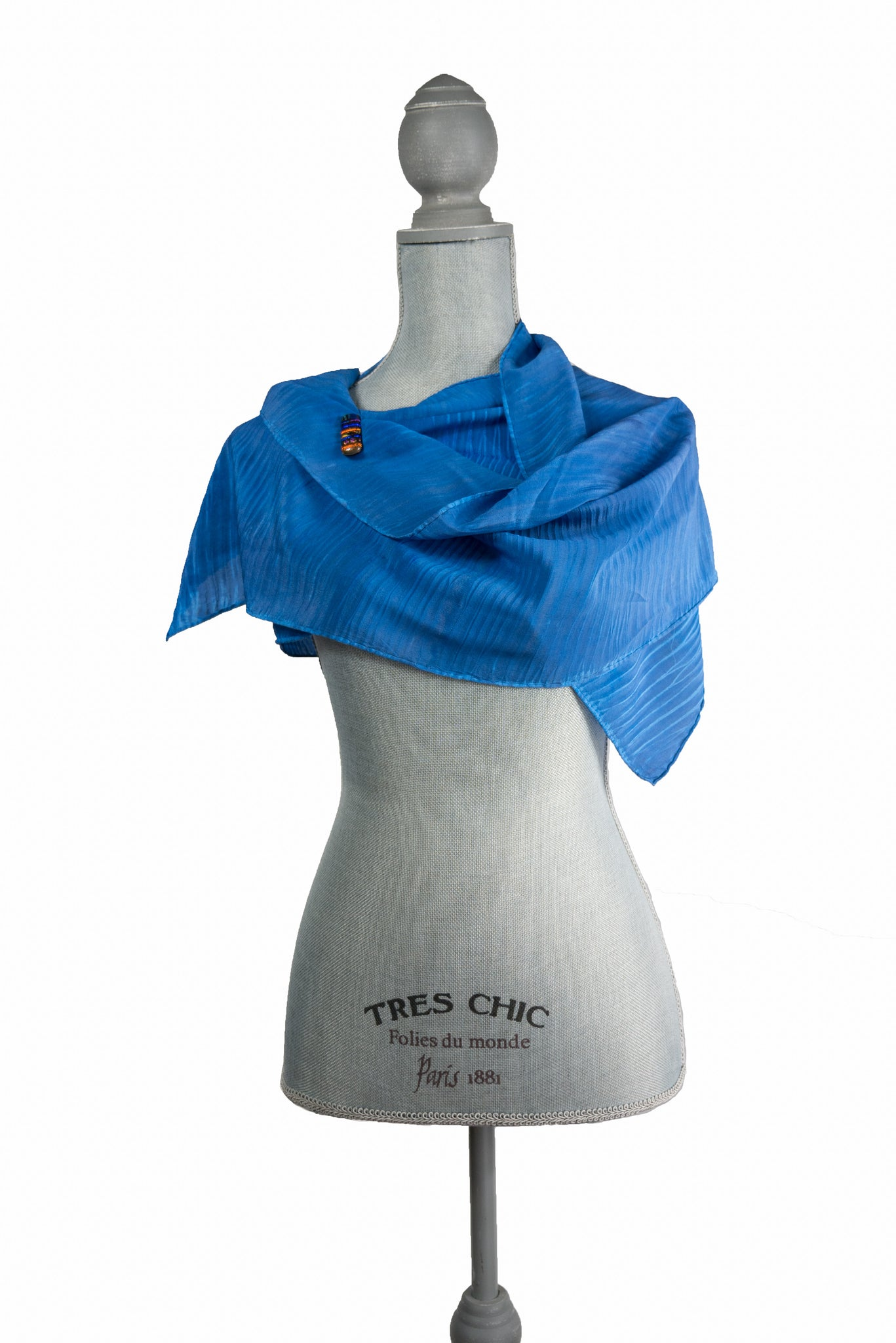 Chic Blue Silk Wrap | Shawl