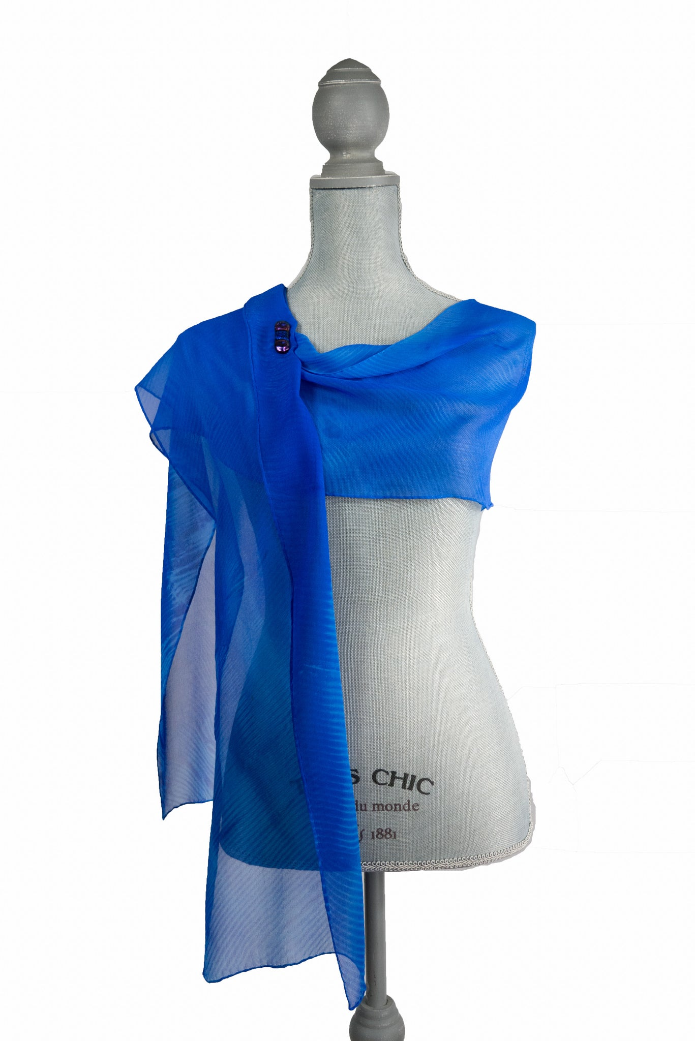 Charming Blue Silk Wrap | Shawl