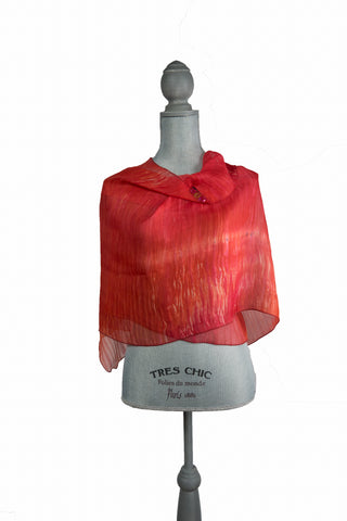 Dynamic Red Silk Wrap | Shawl