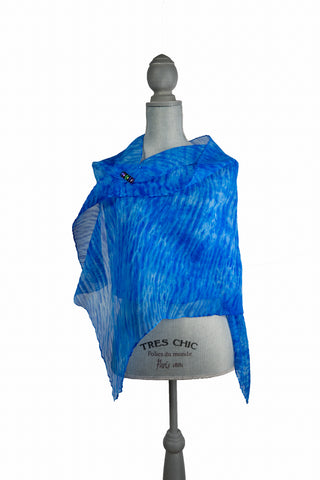 Lavish Blue Silk Wrap | Shawl