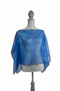 Stylish Blue Silk Poncho