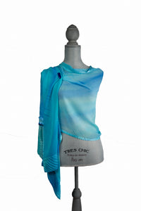Whimsical Turquoise Silk Wrap | Shawl