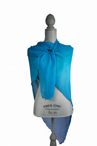 Blue and Turquoise Silk Triangle Wrap-Poncho