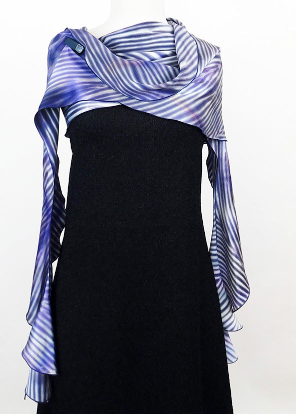 Resplendent Purple and Blue Silk Charmeuse Cascading Circular Wrap | Shawl