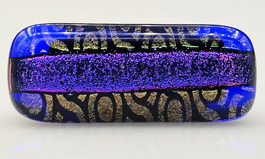 Purple, Gold and Black Patterned Dichroic Scarf Magnet