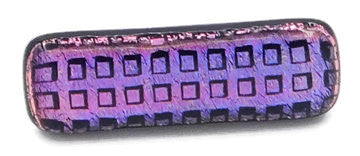 Pink-Blue Squares Dichroic Fused Glass Scarf Magnet | Lapel Pin | Brooch