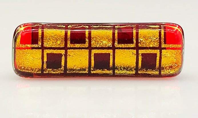 Red, Gold, Patterned Dichroic Squares Scarf Magnet | Lapel Pin