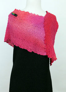 Remarkable Red and Pink Bubble Silk Poncho
