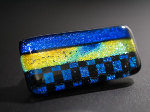 Blue & Yellow Multicolor Dichroic Glass Scarf Magnet