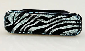 Silver and Black Patterned Dichroic Scarf Magnet