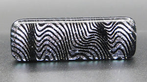 Silver Wave and Black Fused Glass Scarf Magnet | Lapel Pin | Brooch