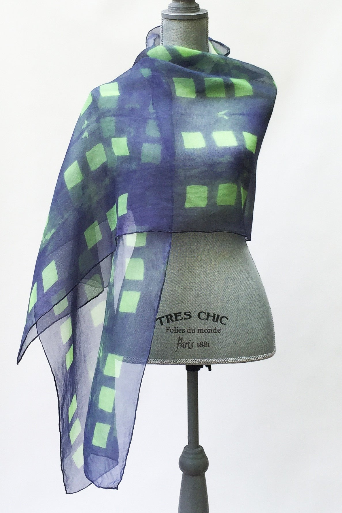 Hypnotizing Spring Green and Blue Silk Wrap | Shawl