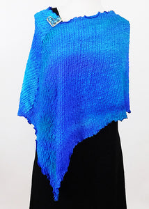 Posh Turquoise And Blue Bubble Silk Poncho