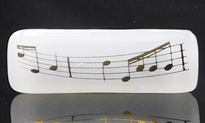 White and Gold Music Scarf Magnet | Lapel Pin