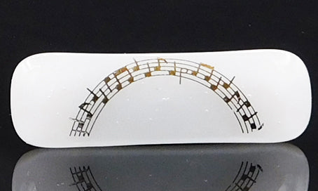 White and Gold Music Scarf Magnet
