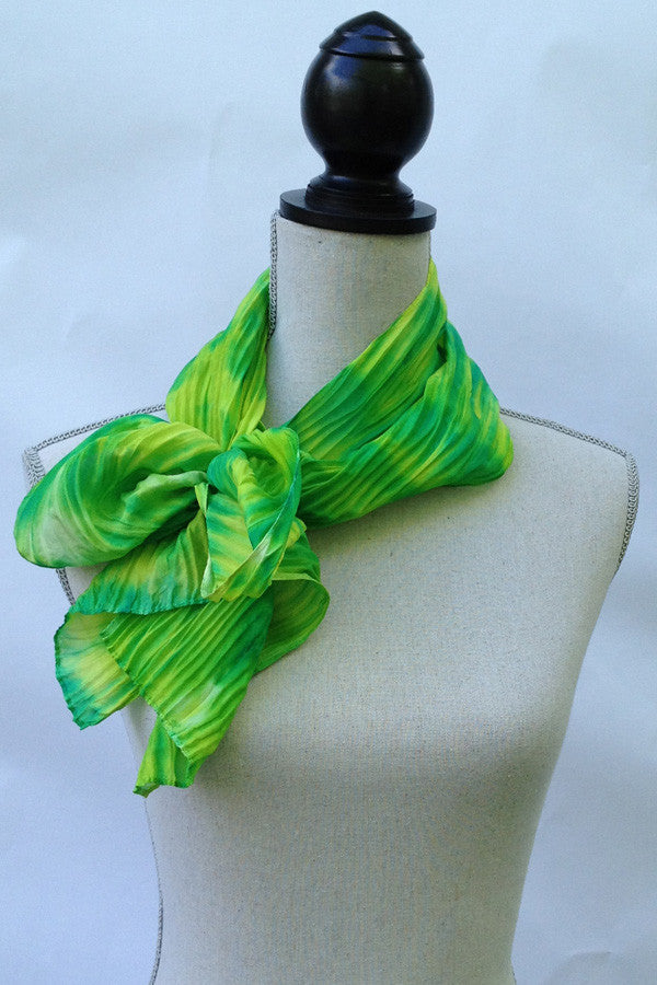 Refreshing Green and Yellow Silk Scarf