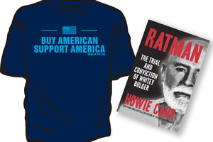 """BUY AMERICAN SUPPORT AMERICA"" t-shirt in Navy blue with FREE ""RATMAN"""