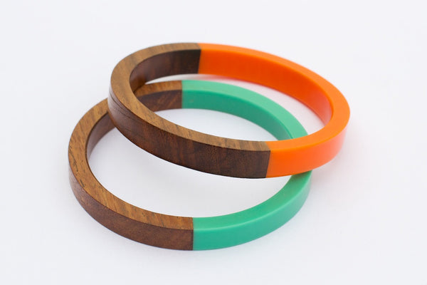 Wood Bangles with Turquoise and Orange
