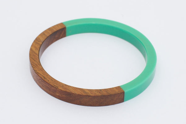 Wood & Turquoise Bangle