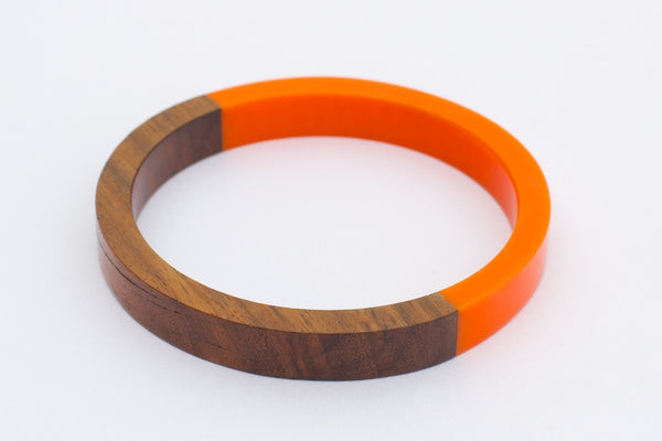 Wood & Orange Bangle