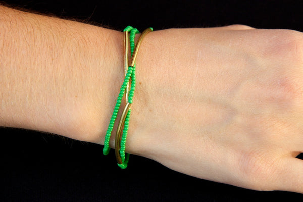 Green Beaded Bracelet Set