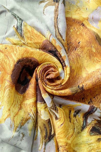 Colourful Van Gogh Sunflowers Silk Scarf - Yellow