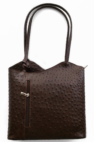 Leather Handbag Backpack Ostrich Finish - Dark Brown