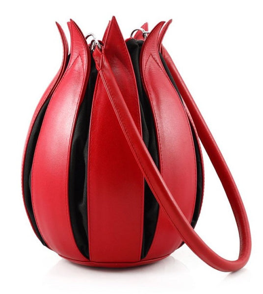 By-Lin Tulip Leather Bag - Red/Black