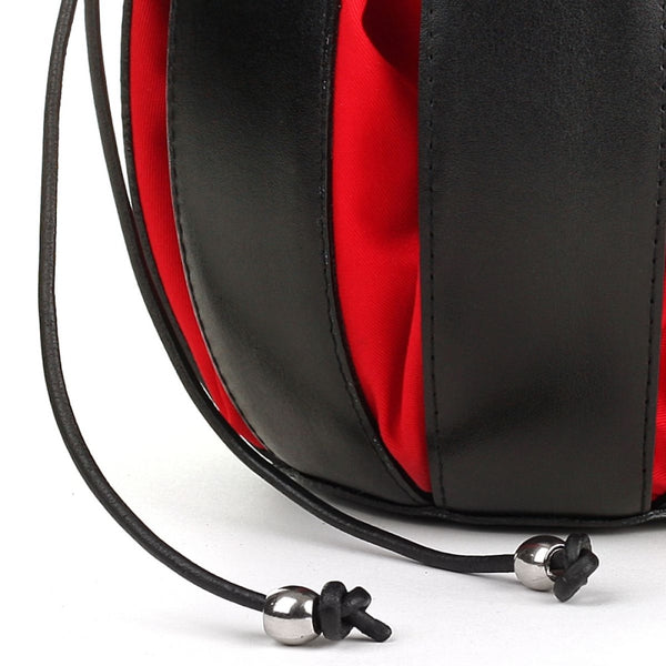 By-Lin Tulip Leather Bag - Black/Red