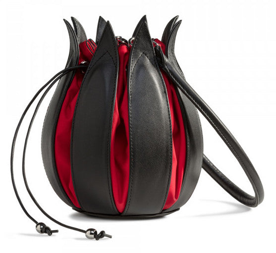 Tulip Leather Bag - Black/Red