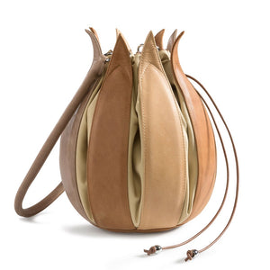 Tulip Leather Bag - Taupe/Camel/Cognac - Medium