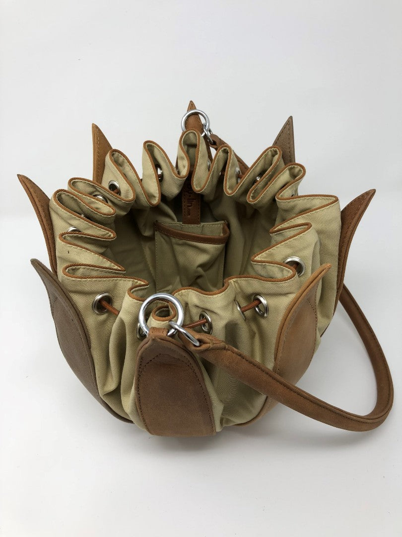 By-Lin Tulip Leather Bag - Taupe/Camel/Cognac