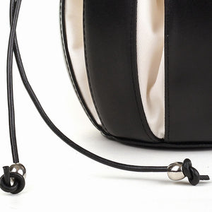 By-Lin Tulip Leather Bag - Black with White Lining