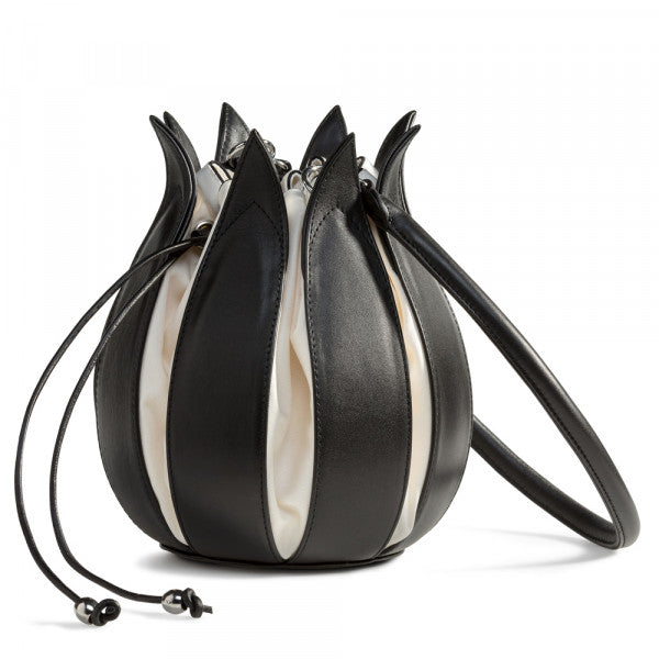 Tulip Leather Bag - Black with White interior