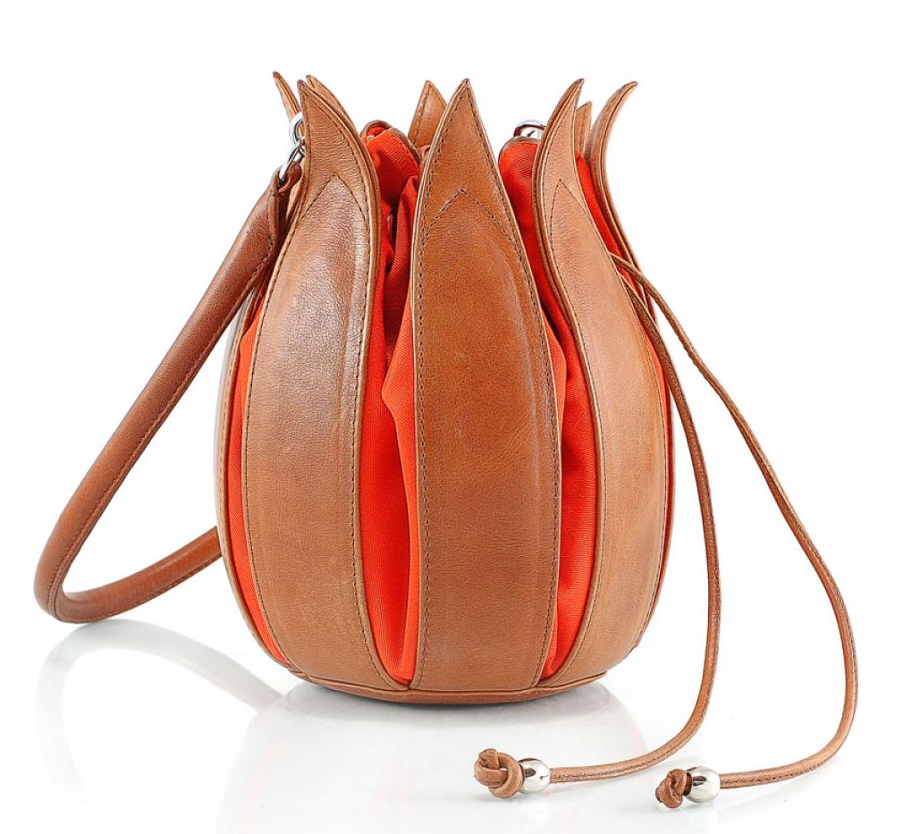 Tulip Leather Bag - Cognac with Orange Interior - Medium