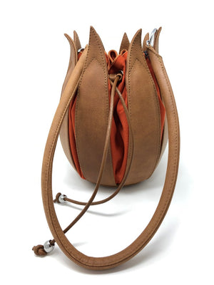 By-Lin Tulip Leather Bag - Cognac with Orange Lining
