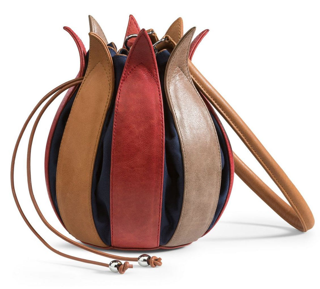 Tulip Leather Bag - Red/Cognac/Taupe - Medium